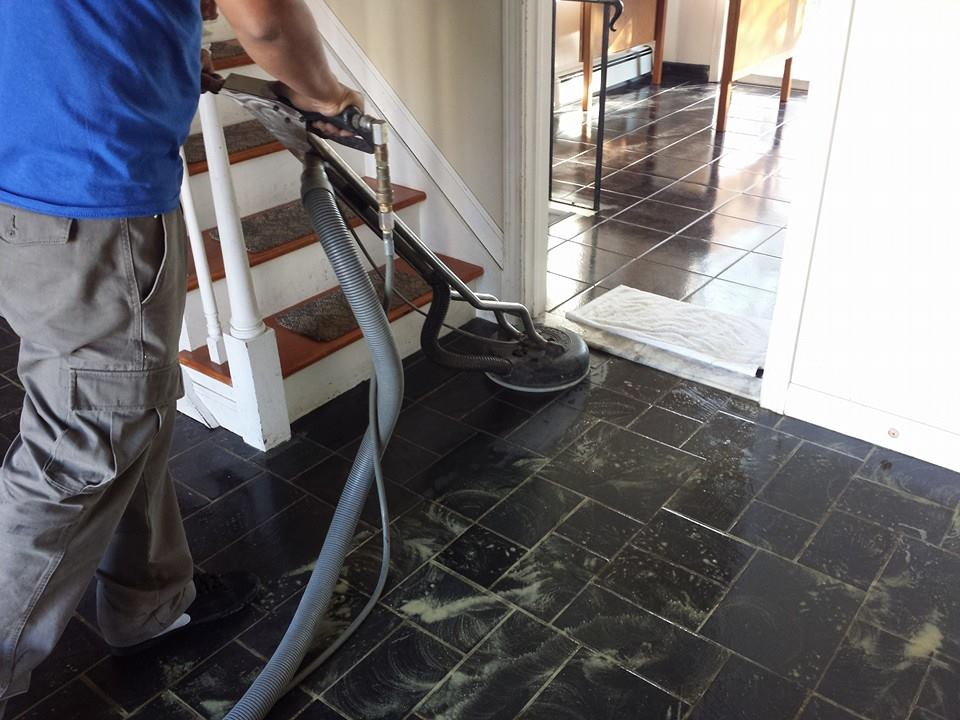 Clean grout on tile floors